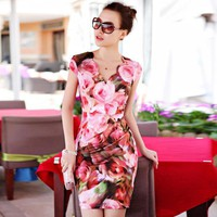 Printed Silk Ice Slim Dress Pink - Designer Shoes|Bqueenshoes.com