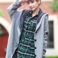 Women/Girl Grey Single-Breasted Thickened Loose Free Size Knitting Sweater@T882grey - $19.46 : DressLoves.com.