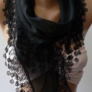 ON SALE / Black // Cotton/ Traditional Turkish fabric -Anatolian Shawl/Scarf
