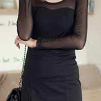 Black Contrast Sheer Mesh Long Sleeve Short Dress - Sheinside.com