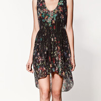 Black FloralPrint Chiffon High Low Dress - Sheinside.com