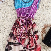 Multi Round Neck Sleeveless Floral Striped Polyester Dress - Sheinside.com