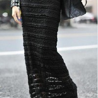 Black Lace Long Skirt - Sheinside.com