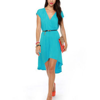 Cute Turquoise Dress - Aqua Blue Dress - High Low Dress - $37.50