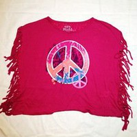 Tuanis — Mudd Pink Cut Tassel Peace Sign Tank Top
