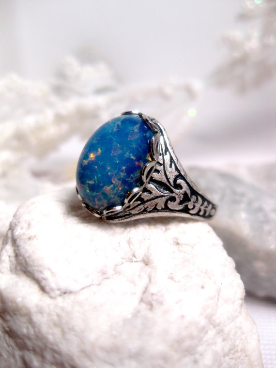 Blue Opal Ring - Journey To The Center Of The Earth - Adjustable - Oval