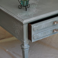 Vintage Side Table in Soft Opalescent Green W/Silver Accents / Side Table With Ferns