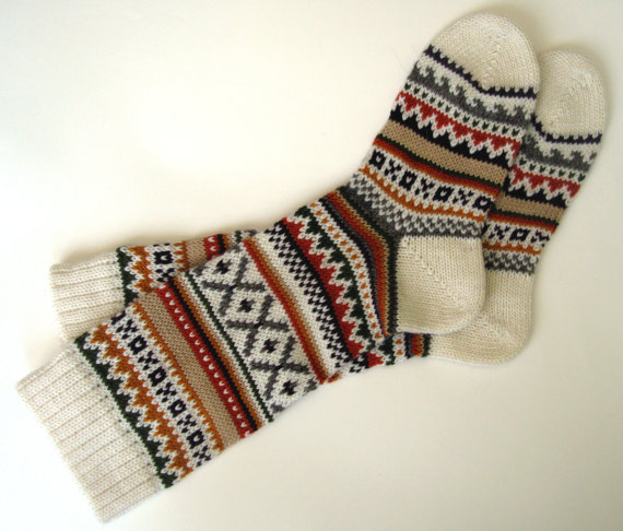 Scandinavian pattern rustic spring knit knee-high wool socks CUSTOM MADE