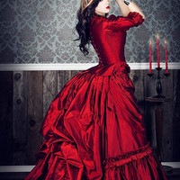 Mina Dracula Victorian Gothic Custom Silk Gown Your Color and Size