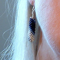 Bead Crochet Earrings Blue Chevrons in Midnight Cobalt Sapphire Sioux Blue and White seed beaded rope