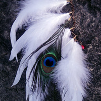 Bride Of Tatewari peacock &amp; coque feather antiqued by pareket