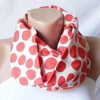 XMAS IN JULY %20 Sale-Infinity Scarf loop big dotted handmade from cream and orange coton linen