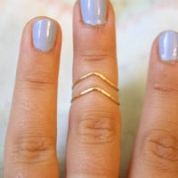 Chevron Hammered Brass or Silver Plated Wire Knuckle Ring Set, Stacking Rings