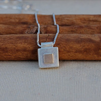 Sterling silver/Gold small pendant. Handmade Silver square block with Gold block design. Satin finish. Minimalist. Perfect Little Pendant.