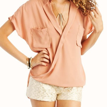 draped-button-up-blouse BLUE IVORY JADE PEACH - GoJane.com