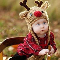 Baby Hat - Reindeer Hat - Baby Reindeer Hat -  0 - 3 months  Cute and Soft Earflap - by JoJosBootique