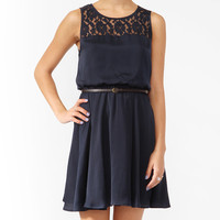 Lace Yoke Blouson Dress w/ Belt