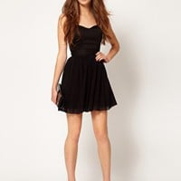 Elise Ryan Diamante Trim Mesh Bandeau Skater Dress at asos.com