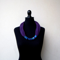 The funky necklace - handmade in purple jersey fabric