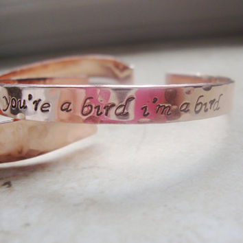 Notebook quote hand stamped hammered copper cuff bracelet