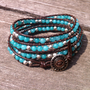Beaded Leather 4 Wrap Bracelet with Turquoise and Silver Beads