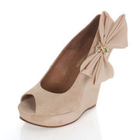 PRETTY Cream Bow Wedge** - Last Chance to Buy  - Clothing  - Miss Selfridge