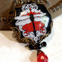 Victorian Gothic Picture Necklace - Dragonfly Necklace - Art Necklace - Red Black Neo Victorian Glass Picture Pendant Charm Jewelry