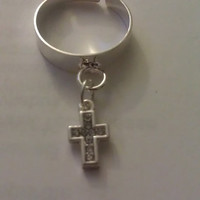 Boho Cross Dangle Charm Ring
