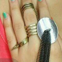 Bohemian Double Finger Gold Chain Midi Ring