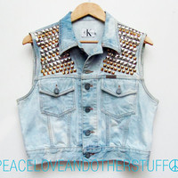 Re-worked Sleeveless Vintage Calvin Klein Cropped Acid Wash Studded Denim Jacket