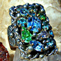 Blue Green Rhinestones Silver Color Ring Setting Chakra Jewelry