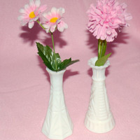 Vintage Milk Glass 2 Vase Set