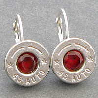 Bullet Earrings - Garnets set in Nickel Plated 45 Auto Bullet Casings - IN STOCK