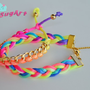 Set of 2 - Gold Chain and Neon Colorful Satin Cord Braided Bracelets - Handmade by PinkSugArt