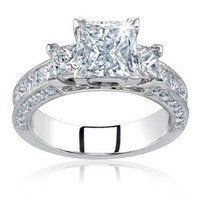 2.00 Carat Total Princess Cut Certified Diamond Three 3 Stone Engagement Anniversary Ring 14k Solid White Gold Center 0.50 Carat D VS1-2: Jewelry: Amazon.com