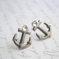 Anchor Me-- Metal anchor earrings with swarovski crystals.