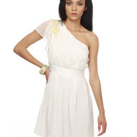 Michelangelo&#x27;s Vision One Shoulder Ivory Dress