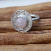 Rose Quartz. Pink Stone Ring. Sterling Silver Circle Round Textured Large Bezel Set. strikingly beautiful. modern. minimalist.