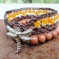 Orange Beaded Leather Wrap Bracelet, Leather Cuff Bracelet Orange Jade and Goldstone, Braided Leather Bohemian Bracelet, Bohemian Jewelry