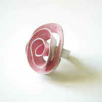 ooak big pink rose, sterling silver, handmade  ring, pink enamel