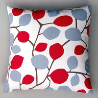 Nordic leaves red 16 inch handmade cushion pillow by CoupleHome