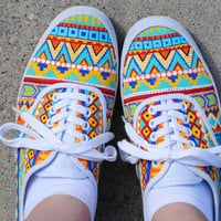 Hand Painted Aztec Shoes (Custom Order)