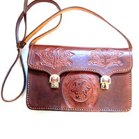 Vintage Tooled Leather Handbag, Brown Purse Case Tote