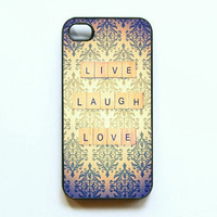 "Iphone Case. ""Live Laugh Love"". Vintage. Quote. Damask. Pattern. Girly. Words. Cute. Gold. Purple. Iphone 4 case. 4s case. Live Laugh Love"