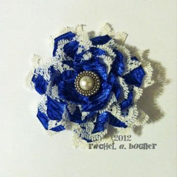 Blue and White Flower hair clip 134 by RABOGNER on Zibbet