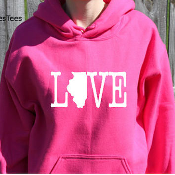 Love Ilinois Hoodie, Illinois Sweatshirt, State, Home,