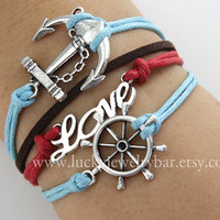 rudder bracelet, love bracelet,  anchor bracelet,  wax cords bracelet, leather bracelet - SALE