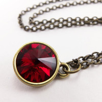 Ruby Red Crystal Necklace - Antiqued Brass Jewelry - Crystal Jewelry - Rivoli - Modern Necklace - July Birthday Jewelry