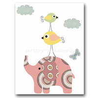 "Art for Children , Kids Wall Art, Baby Girl Room Decor, Nursery print 8"" x 10"" Print, elephant,yellow,red,birds,violet,rose,artwork"