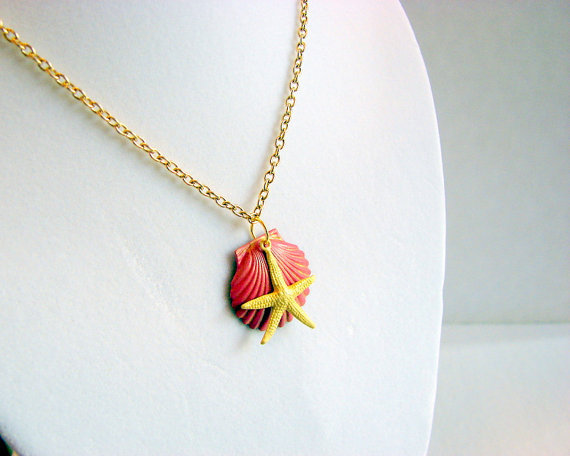 Scallop Shell and Starfish Charm Necklace - Small - Watermelon Pink and Pale Yellow - Hand Painted Patina - Brass - Ocean Beach Sea
